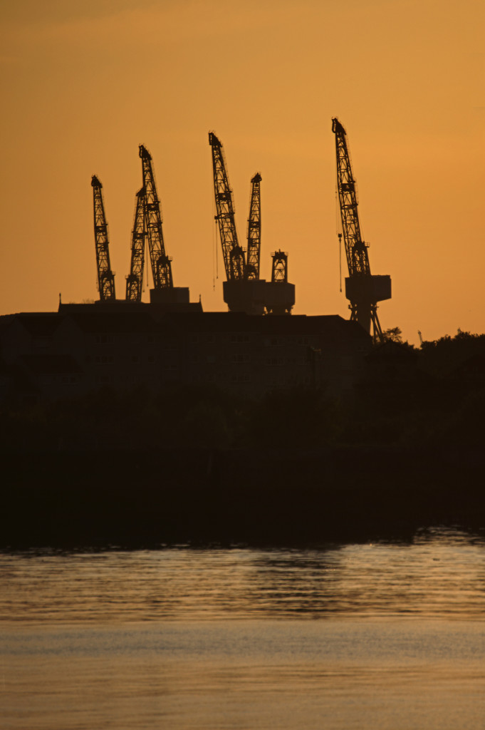 Cranes of the govan shipyards at sunset, Glasgow