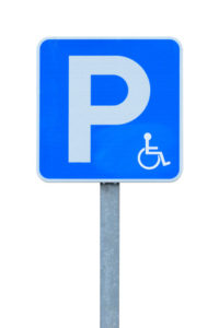 road sign parking for disabled isolated on white background