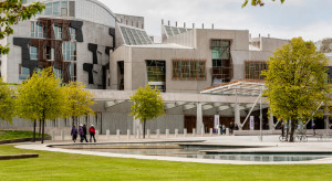 EDINBURGH, SCOTLAND - MAY 15: Exterior of the Scottish Parliament building and parkland setting in Edinburgh on May 15, 2012 in Edinburgh, Scotland.