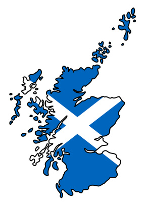 Outline of Scotland filled in with Scottish flag