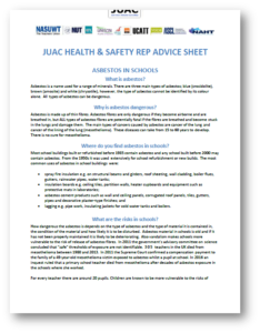 JUAC - Health & Safety Rep Advice Sheet