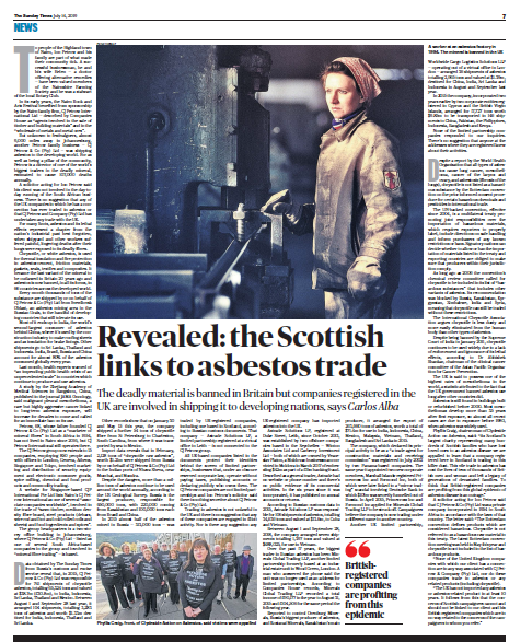UK firms trading in deadly asbestos - Sunday Times - investigation by Carlos Alba
